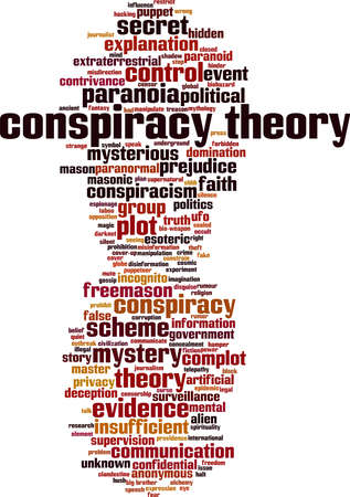 Conspiracy theory word cloud concept. Collage made of words about conspiracy theory. Vector illustration 向量圖像