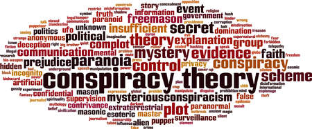 Conspiracy theory word cloud concept. Collage made of words about conspiracy theory. Vector illustration Ilustração