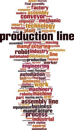 Production line word cloud concept. Collage made of words about production line. Vector illustration Ilustração