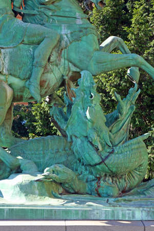 ZAGREB, CROATIA - JULY 28, 2020: Detail of sculpture St George Killing the Dragon, by Anton Dominik Ritter von Fernkorn, placed on Republic of Croatia Square, in Zagreb, Croatia