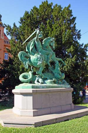 ZAGREB, CROATIA - JULY 28, 2020: St George Killing the Dragon, sculpture in Zagreb, Croatia Editorial