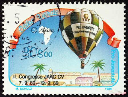 CAPE VERDE - CIRCA 1989: a stamp printed in Cape Verde shows hot air balloon, circa 1989 Editorial