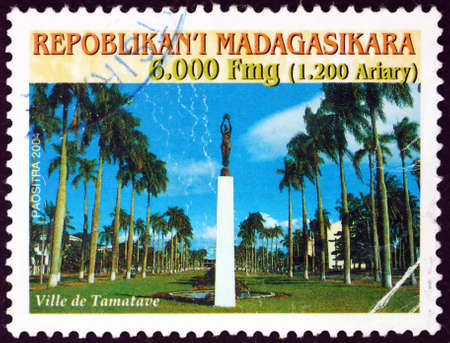 MALAGASY - CIRCA 2004: a stamp printed in Malagasy, Madagascar shows City of Toamasina (Tamatave), is the capital of the Atsinanana region on the east coast of Madagascar, circa 2004 Editorial