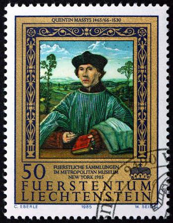 LIECHTENSTEIN - CIRCA 1985: a stamp printed in Liechtenstein shows Portrait of a Canon, Painting by Quentin Massys, Flemish Painter (1466-1530), circa 1985 Editorial