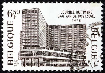 BELGIUM - CIRCA 1976: a stamp printed in Belgium shows General post office, Brussels, circa 1976 Editorial
