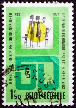 BELGIUM - CIRCA 1971: a stamp printed in Belgium dedicated to Belgian large families league, circa 1971