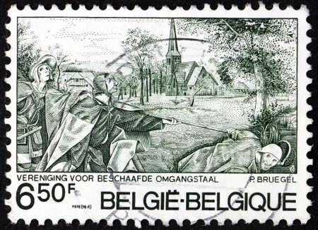 BELGIUM - CIRCA 1976: a stamp printed in Belgium shows Blind leading the blind, Painting by Pieter Brueghel the Elder, Netherlandish Painter, circa 1976 Editorial