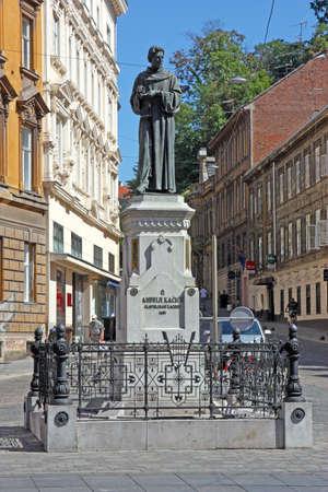 ZAGREB, CROATIA - JULY 28, 2020: Statue of Andrija Kacic Miosic, Croatian poet and Franciscan friar, placed in Mesnicka street, Zagreb, Croatia