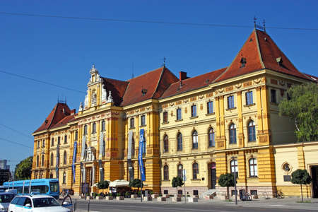 ZAGREB, CROATIA - JULY 28, 2020: Museum of Arts and Crafts, Zagreb. The museum houses more than 100,000 objects spanning from 4th century to the 20th century