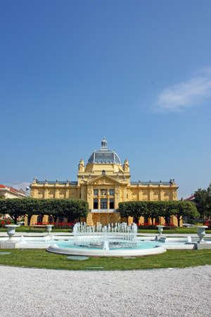 Art Pavilion in Zagreb, Croatia, the Oldest Exhibition Hall on the Slavic South, Zagreb, Croatia. Editorial