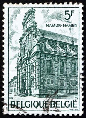 BELGIUM - CIRCA 1975: a stamp printed in Belgium shows Church of St. Loup, Namur, circa 1975 Editorial
