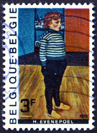 BELGIUM - CIRCA 1973: a stamp printed in Belgium shows Charley, painting by Henri Evenepoel, Belgian artist, circa 1973 Editorial