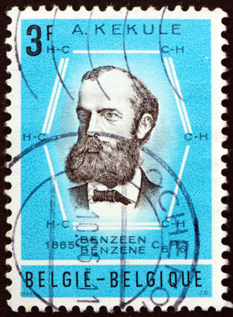 BELGIUM - CIRCA 1966: a stamp printed in Belgium shows August Friedrich Kekule (1829-1896), and benzene ring, was a German organic chemist and chemistry profesor at University of Ghent, circa 1966