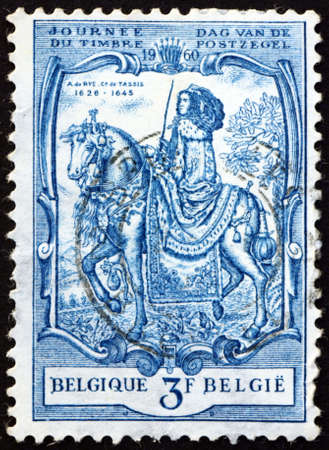 BELGIUM - CIRCA 1960: a stamp printed in Belgium shows Alexandrine de Rye, Countess of Taxis, was Grand Mistress of the Netherlands Post, painting by Nicholas van der Eggermans, circa 1960