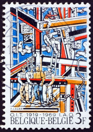 BELGIUM - CIRCA 1969: a stamp printed in Belgium shows Construction workers, painting by Fernand Leger, French painter, sculptor and filmmaker, circa 1969