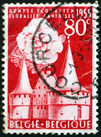 BELGIUM - CIRCA 1955: a stamp printed in Belgium shows the Rabot Gate and Begonia, Ghent International Flower exhibition, circa 1955