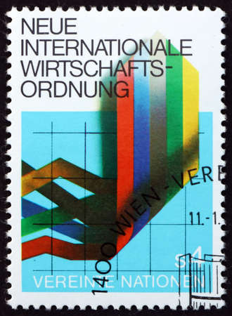 UNITED NATIONS - CIRCA 1980: a stamp printed in the United Nations, offices in Vienna shows graph of economic trends, new international economic order, circa 1980