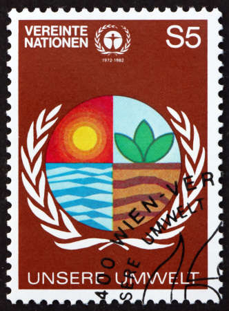 UNITED NATIONS - CIRCA 1982: a stamp printed in the United Nations, offices in Vienna dedicated to human environment, circa 1982 新闻类图片