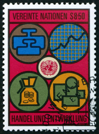 UNITED NATIONS - CIRCA 1983: a stamp printed in the United Nations, offices in Vienna dedicated to trade and development, circa 1983
