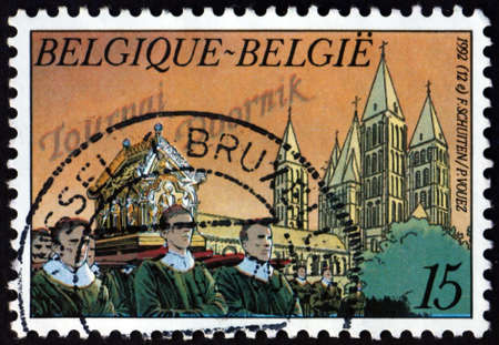 BELGIUM - CIRCA 1992: a stamp printed in Belgium shows Grand Procession of Tournai, 900th anniversary, circa 1992