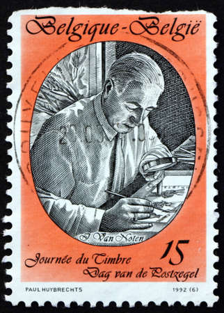 BELGIUM - CIRCA 1992: a stamp printed in Belgium shows Jean Van Noten (1903-1982), stamp designer, circa 1992