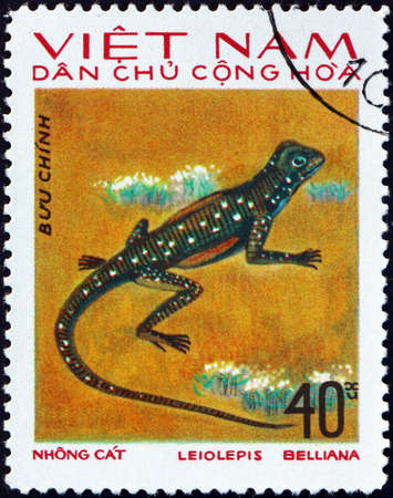 VIETNAM - CIRCA 1975: a stamp printed in Vietnam shows butterfly lizard, leiolepis belliana, is a widespread species native to Asia, circa 1975