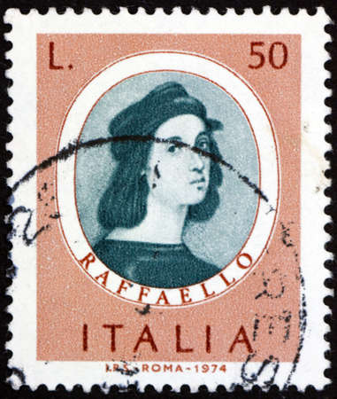ITALY - CIRCA 1974: a stamp printed in Italy shows Raphael (1483-1520), was an Italian painter and architect of the High Renaissance, circa 1974