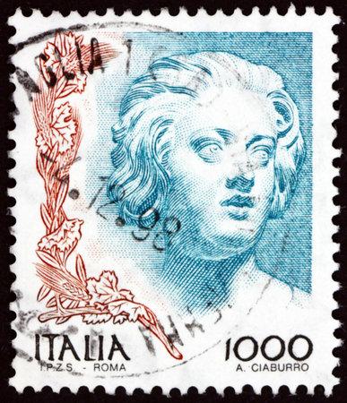 ITALY - CIRCA 1998: a stamp printed in Italy shows sculpture of Constanza Buonarelli by Gian Lorenzo Bernini, circa 1998
