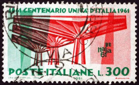 ITALY - CIRCA 1961: a stamp printed in Italy shows steel construction, Italia 61 exhibition, Turin, centenary of Italian unity, circa 1961 Stok Fotoğraf