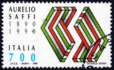 ITALY - CIRCA 1990: a stamp printed in Italy dedicated to Aurelio Saffi (1819-1890), was a Roman and Italian politician, active during the period of Italian unification, circa 1990