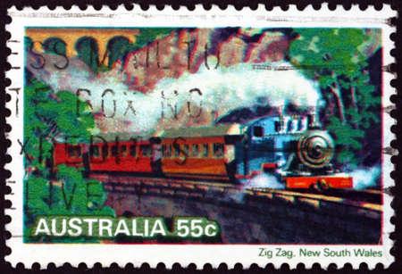 AUSTRALIA - CIRCA 1979: a stamp printed in Australia shows Zig Zag, Australian Steam Locomotive, circa 1979 Фото со стока