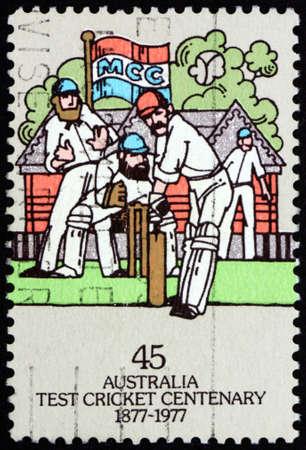 AUSTRALIA - CIRCA 1966: a stamp printed in Australia shows batsman facing bowler, cricket match 19th century, circa 1966