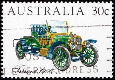 AUSTRALIA - CIRCA 1984: a stamp printed in Australia shows Tarrant 1906, Australian-made vintage car, circa 1984