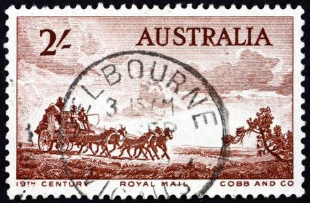 AUSTRALIA - CIRCA 1955: a stamp printed in Australia shows Cobb and Company mail coach, pioneers of Australia