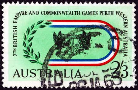 AUSTRALIA - CIRCA 1962: a stamp printed in Australia shows arms of Perth, British Empire and Commonwealth Games in Perth, circa 1962