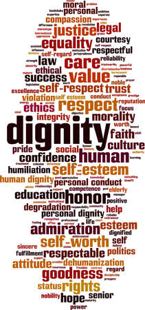 Dignity word cloud concept. Collage made of words about dignity. Vector illustration