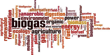 Biogas word cloud concept. Collage made of words about biogas. Vector illustration Vectores