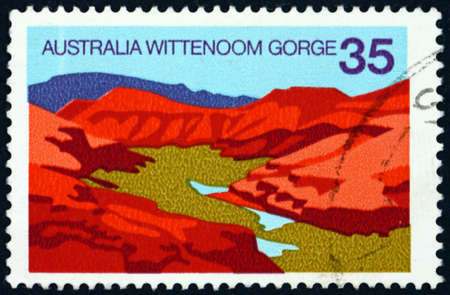 AUSTRALIA - CIRCA 1976: a stamp printed in Australia shows Wittenoom Gorge, Western Australia, is the largest contaminated site in the southern hemisphere, circa 1976