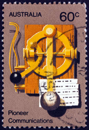 AUSTRALIA - CIRCA 1972: a stamp printed in Australia shows early Morse key, pioneer communications, Australian pioneer life, circa 1972