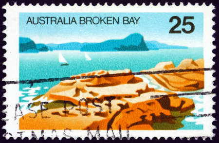 AUSTRALIA - CIRCA 1976: a stamp printed in Australia shows Broken Bay, New South Wales, is a drowned valley estuary located about 50 kilometres north of Sydney on the coast of New South Wales, circa 1976