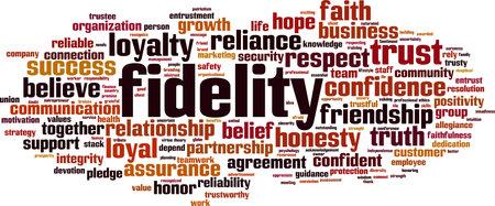 Fidelity word cloud concept. Vector illustration