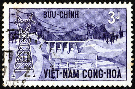 VIETNAM - CIRCA 1964: a stamp printed in Vietnam shows Danhim hydroelectric station, inauguration of the Damhim hydroelectric station, circa 1964