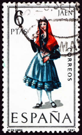 SPAIN - CIRCA 1970: a stamp printed in Spain shows Woman from Jaen, Regional Costume, circa 1970