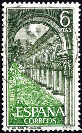 SPAIN - CIRCA 1969: a stamp printed in Spain shows Las Huelgas monastery, inside view, circa 1969 Фото со стока