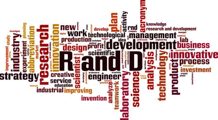 R and D word cloud concept. Collage made of words about R and D. Vector illustration