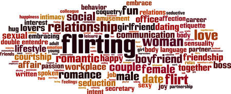 Flirting word cloud concept. Collage made of words about flirting. Vector illustration