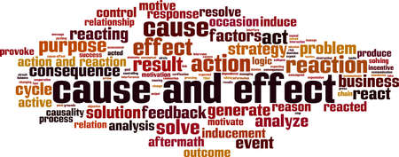 Cause and effect word cloud concept. Vector illustration
