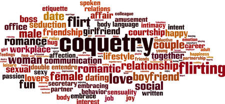 Coquetry word cloud concept. Collage made of words about coquetry. Vector illustration Vektoros illusztráció