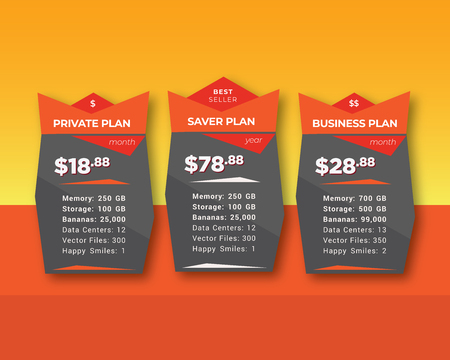 Orange Pricing Table for List of Services Stock Illustratie
