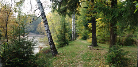 pacification: Panorama Wood pond, footpath along coast, autumn in Moscow suburbs Stock Photo